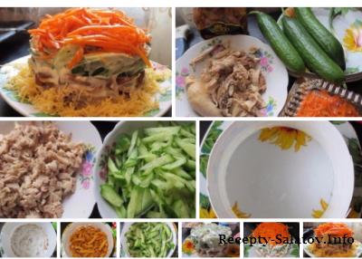 Салат с курицой и грибами слоями