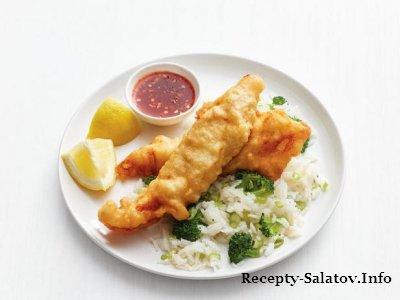Вкусные рыбные палочки с рисом и брокколи