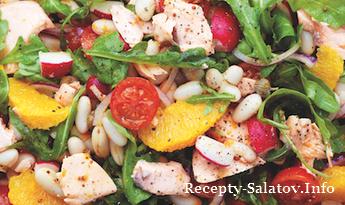 Итальянский салат из копченого лосося и зелени