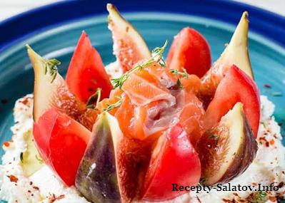 Сочный салат с инжиром и лососем
