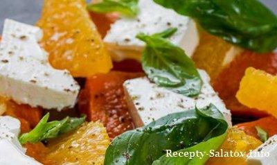 Салат из тыквы с фетой и апельсинами