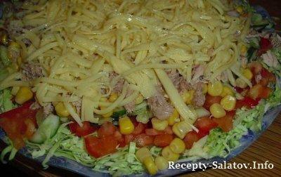 Сочный салат из тунца и овощей