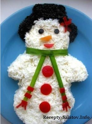 Новогодний салат снеговик из лосося