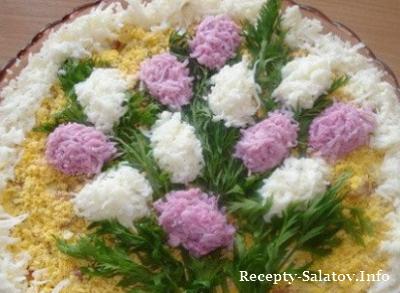 Салат весенний букет сирени с ананасом