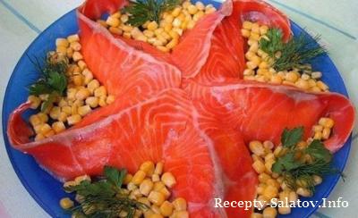 Салат от шеф повара Морская звезда из красной рыбы