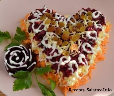 Диетический салат с изюмом и черносливом