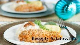 Глазированный лосось в кляре с орех-пекан