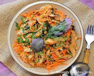 Куриный с корейской морковкой и свежей зелени