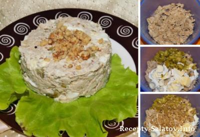 Салат из свинины с грецкими орехами