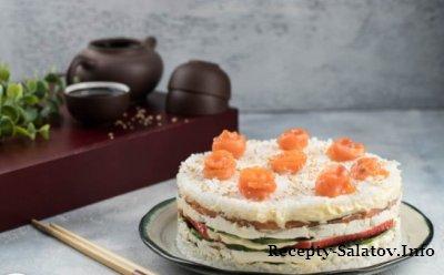 Суши торт из копчёного лосося пошаговый рецепт с фото